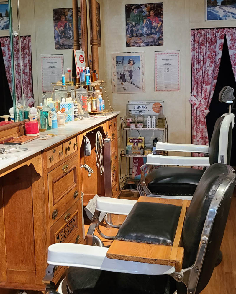 Barber Chairs in the Ray Cahill Barbershop Exhibit