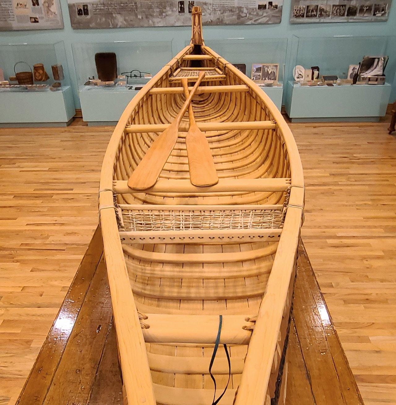 Traditional Anishinaabe birchbark canoe created by Red Cliff Elder, Marvin Defoe