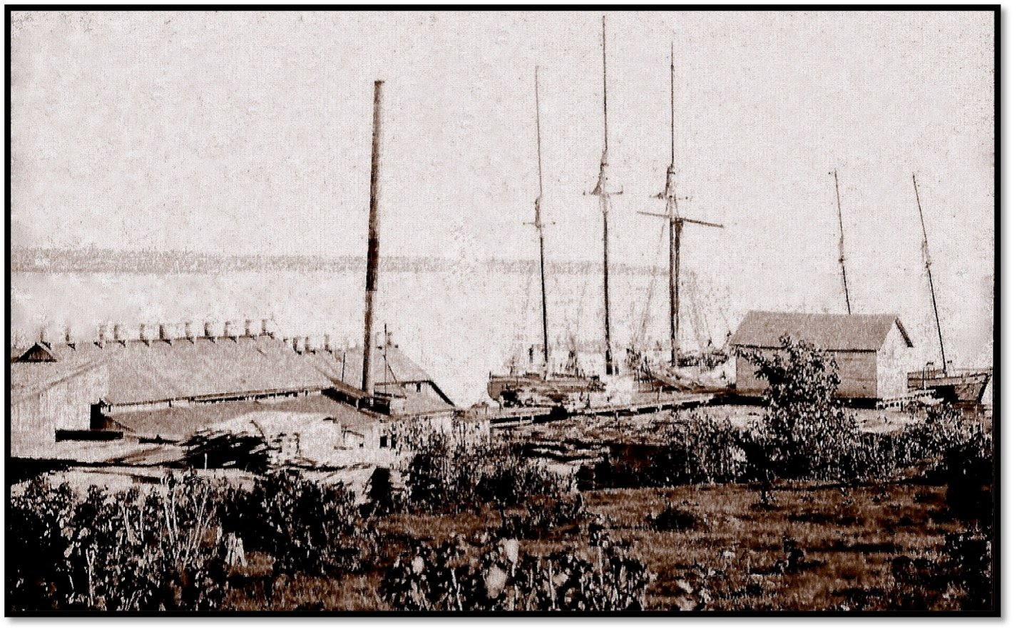 The Henry Baldwin loads lumber at RD Pike Dock in Bayfield ca 1880s BHA 82.57.1