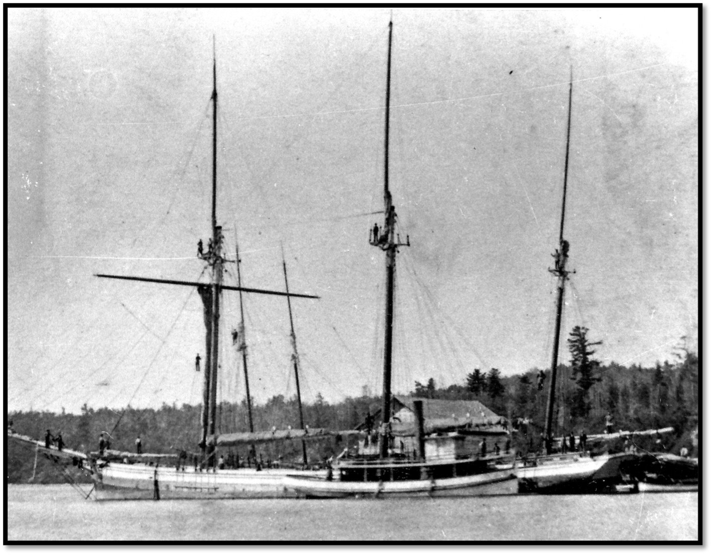 Tug Favorite and Schooner-Scow Maple Leaf RD Pikes dock near north of Pikes Creek BHA 80.34.6