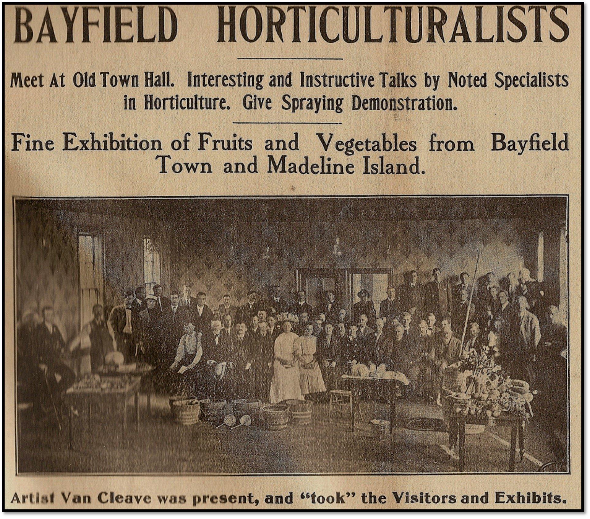 Bayfield Horticultural Society - Bayfield Progress - November 02 1911