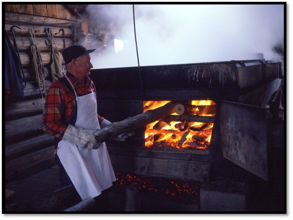 Harvey Nourse stoking the boiler fire BHA 2013.7.7