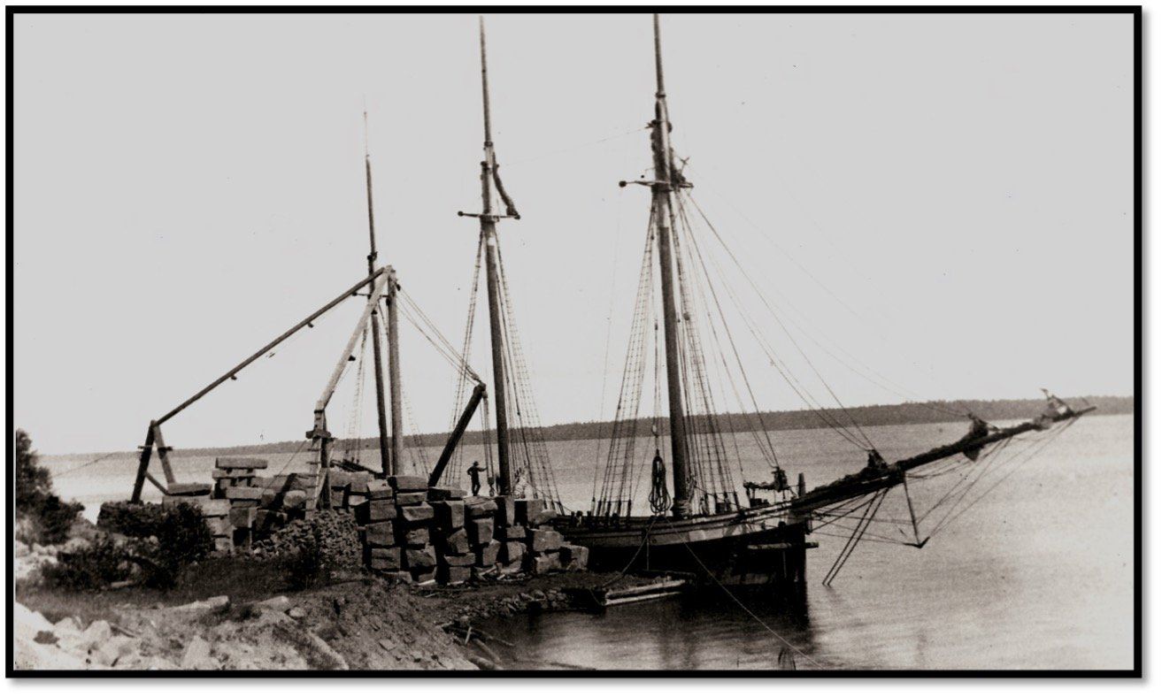 Superior Brown Stone Quarry at Bass Island with Schooner STARLIGHT RD Pike Archive Center