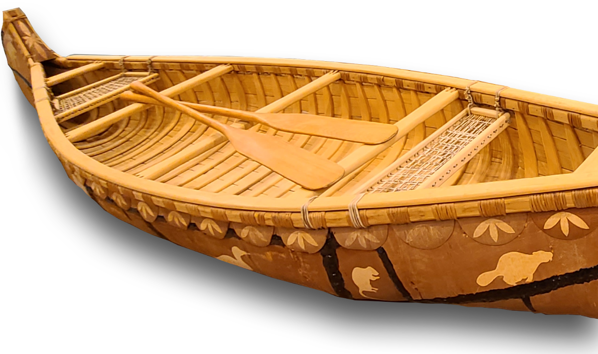 Traditional Anishinaabe birchbark canoe was created by Red Cliff Elder, Marvin Defoe