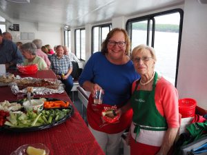 Volunteers working on a fundraising cruise
