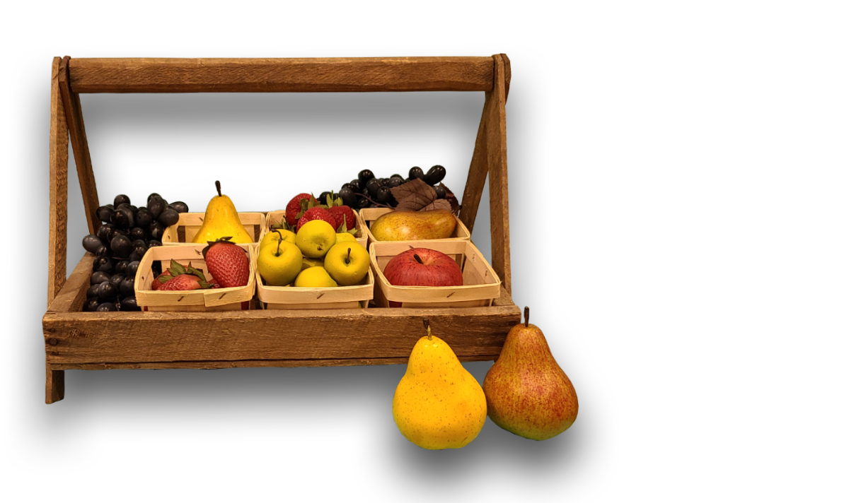 Fruit Tug - A shallow basket made of strips of wood designed to hold pint-size containers