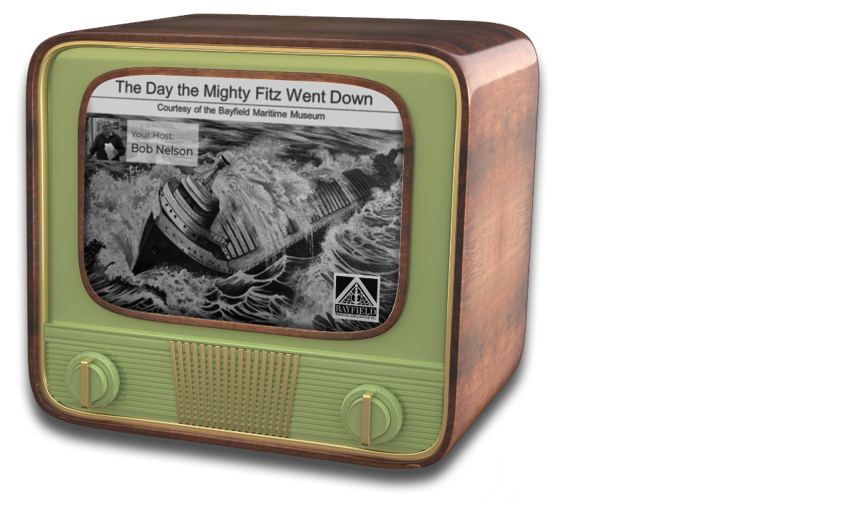 Old-time Television with image of Edmund Fitzgerald video